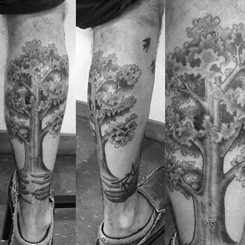 Nice Leafy Oak Tree Tattoos On Calves For Guys