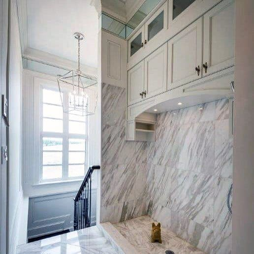 Nice Marble Tile Home Dog Wash Station Interior Ideas