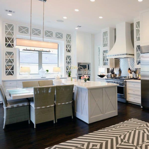 Nice Metal Backsplash Traditional White Kitchen Ideas