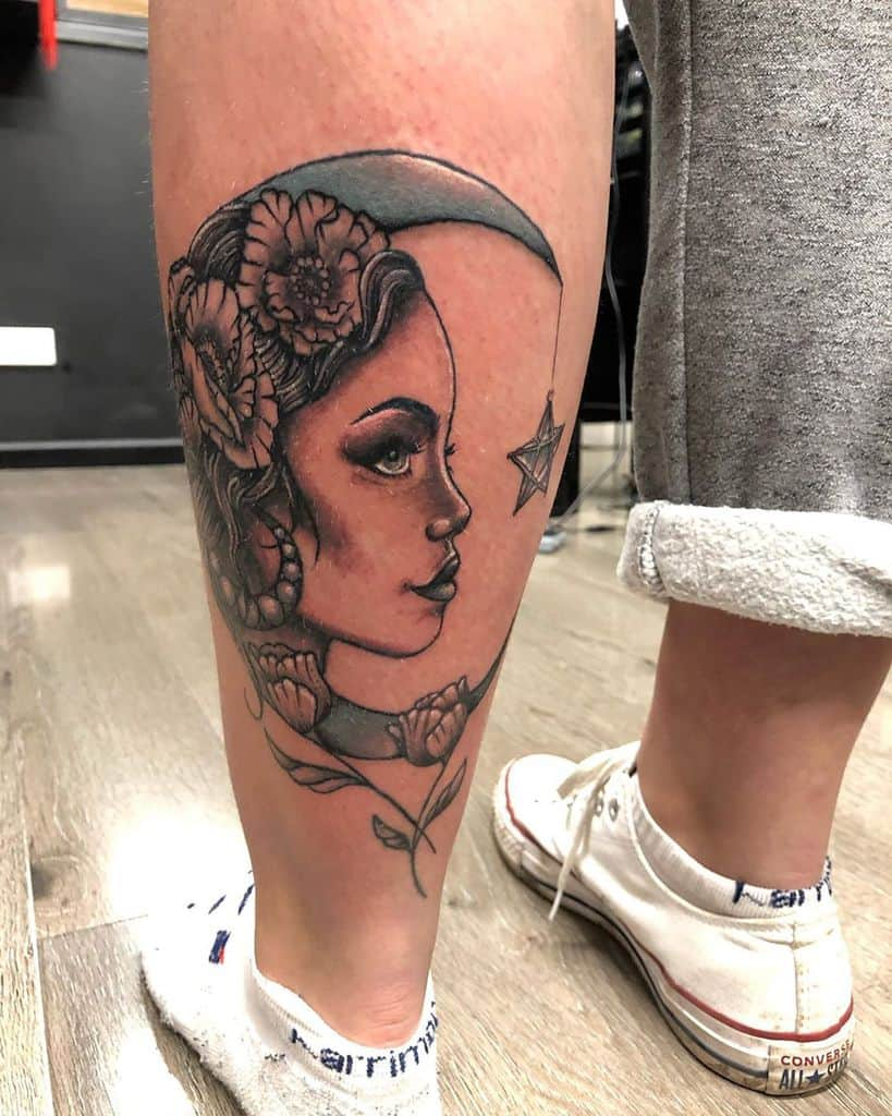 Nice Moon Woman Gypsy Tattoo