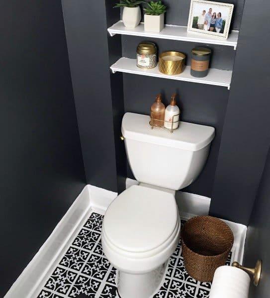Nice Painted Floor Interior Ideas For Half Bath