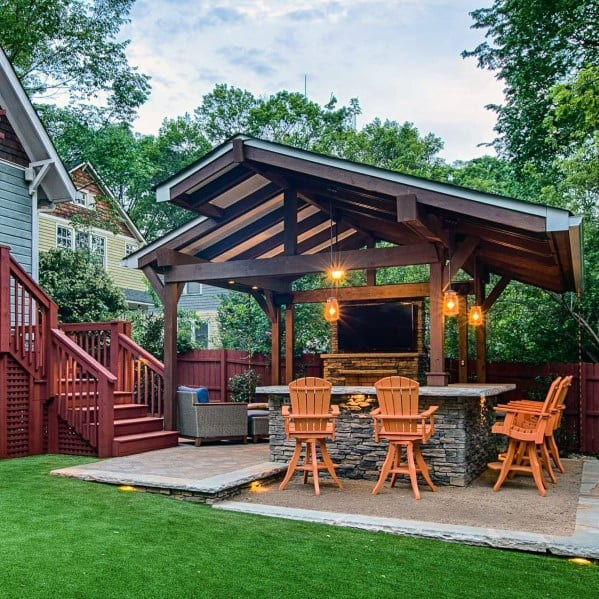 Nice Patio Roof Backyard Ideas