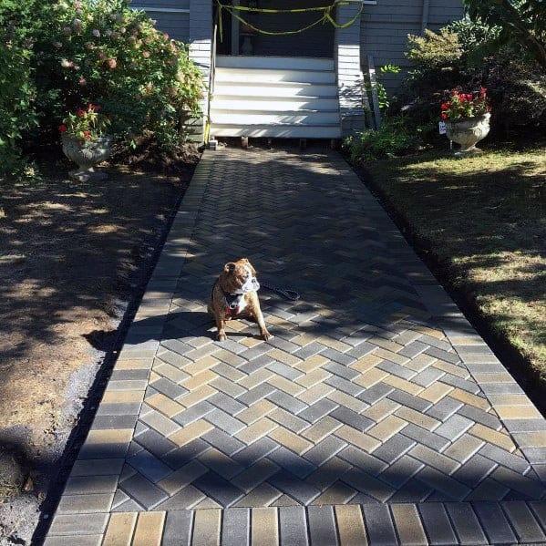 Nice Paver Brick Walkway Exterior Ideas