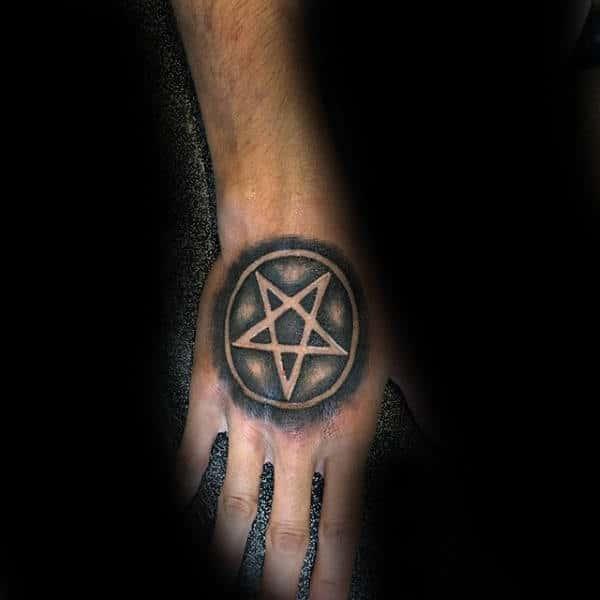 Nice Pentagram Tattoo Mens Hands