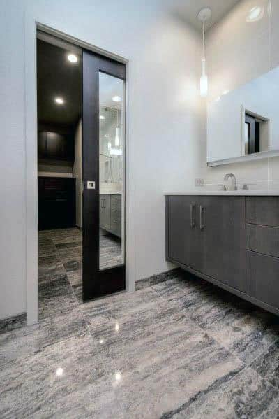 Nice Pocket Door Interior Ideas With Mirror Bathroom