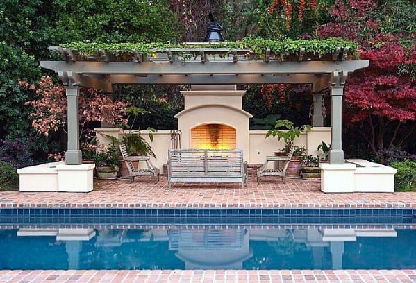 Nice Pool Pergola Brick Patio Backyard Ideas