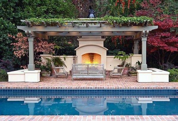 Nice Pool Pergola Brick Patio Backyard Ideas