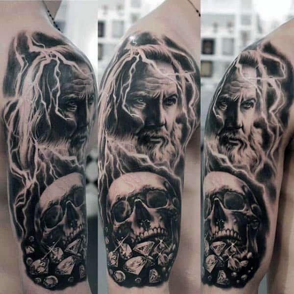Nice Portrait With Skull And Dimaonds Mens Arm Tattoos