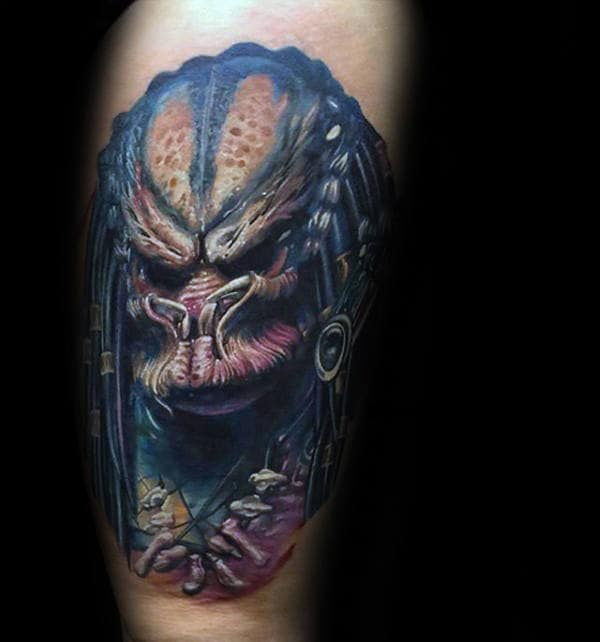 Nice Predator Guys Tattoo Designs On Arms
