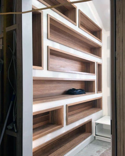 Nice Recessed Wall Niche Interior Ideas Wood Bookcase Design