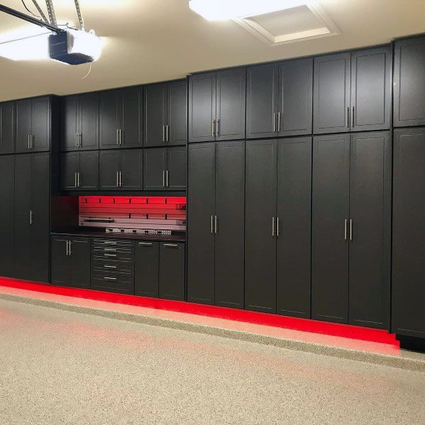 Nice Red And Black Themed Garage Cabinet Storage Ideas