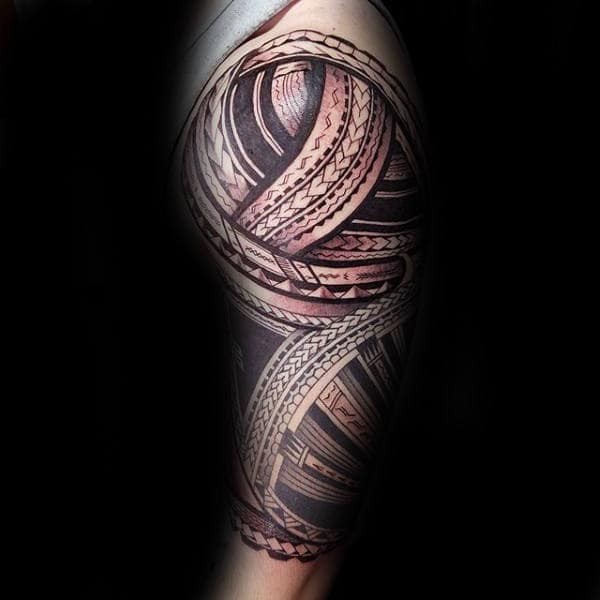 Nice Samoan Half Sleeve Tattoo Inspiration For Men With Tribal Design