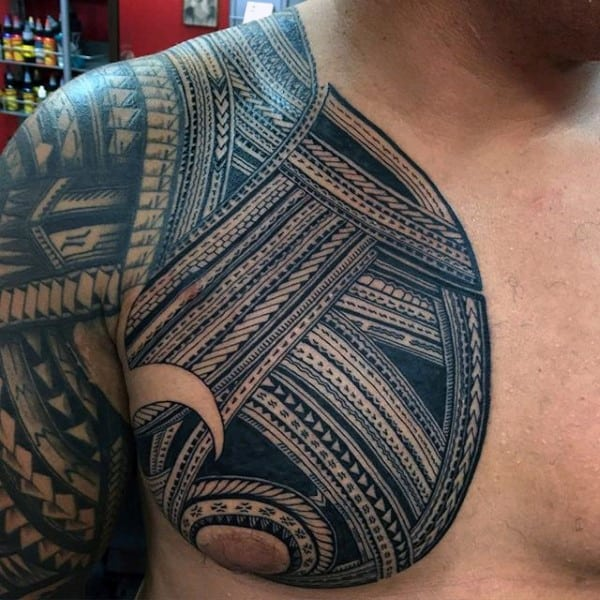 Nice Samoan Tribal Tattoo Ideas For Men On Chest