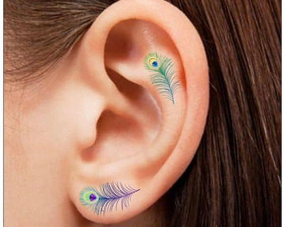 Nice Small Ear Colored Peacock Feather Tattoo