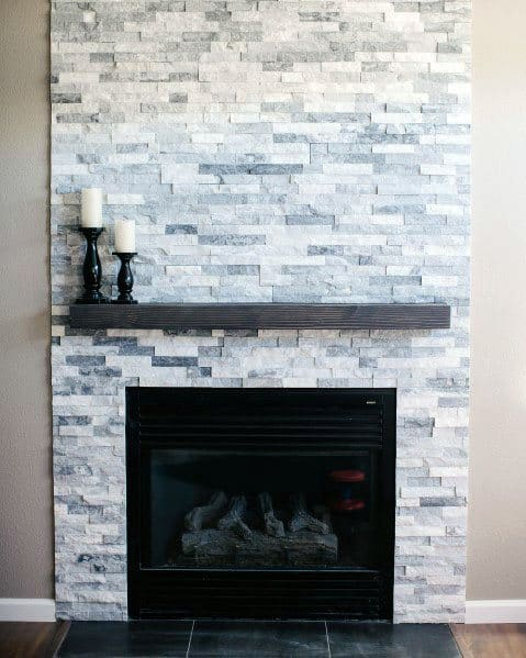 Nice Stacked Stone Fireplace Interior Ideas