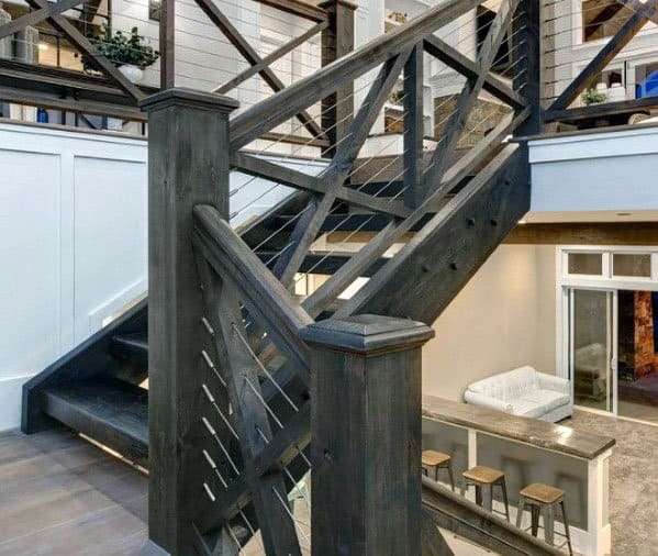 Nice Stair Railing Rustic Wood And Steel Wire Interior Ideas