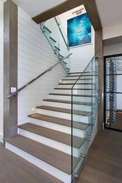 Nice Staircase Glass Panel Railing Interior Ideas