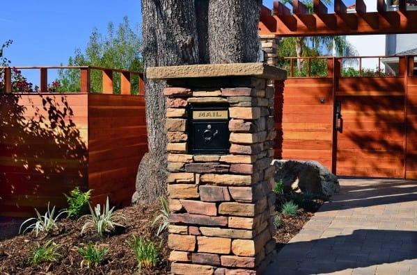 Nice Stone Mailbox Landscaping Exterior Ideas