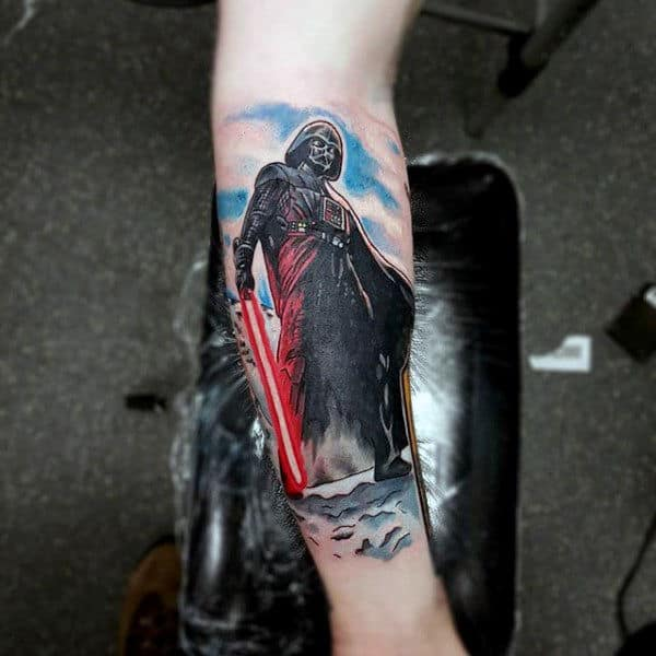 Nice Tattoo Of Darth Vader With Light Saber Mens Forearms