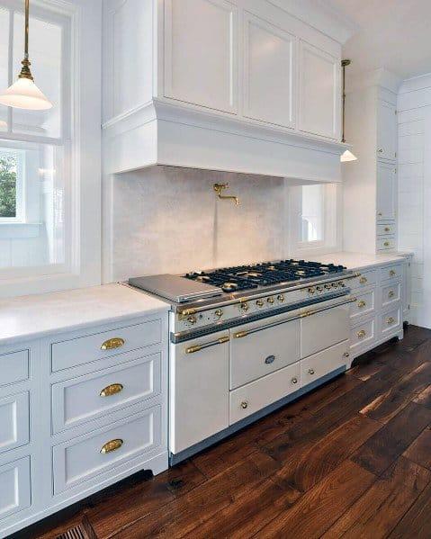 Nice White Kitchen Hardwood Flooring Interior Ideas