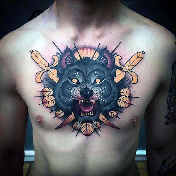 75 nice tattoos for men masculine ink design ideas for Wolf head tattoos