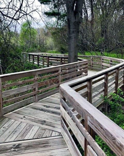 Nice Wooden Walkway Backyard Ideas Deck With Railing