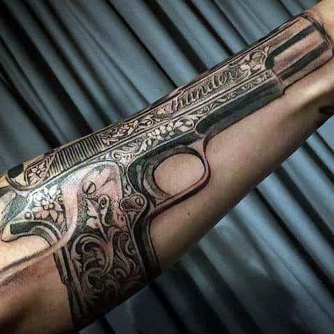 80 pistol tattoos for men manly sidearm designs. Black Bedroom Furniture Sets. Home Design Ideas