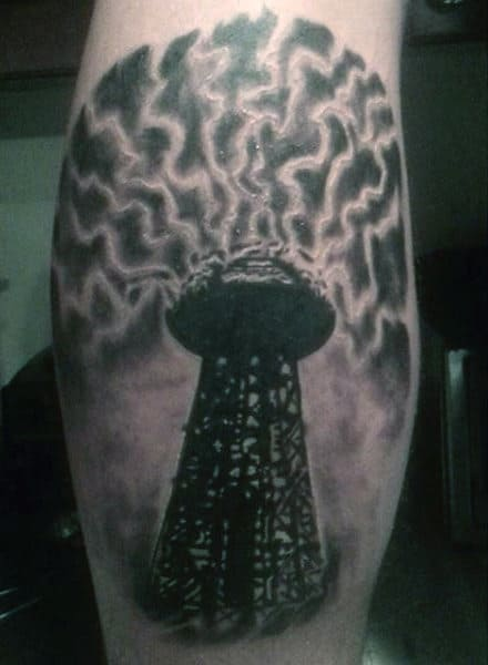 Nicholas Tesla Electrical Tower Science Tattoo For Males On Bicep