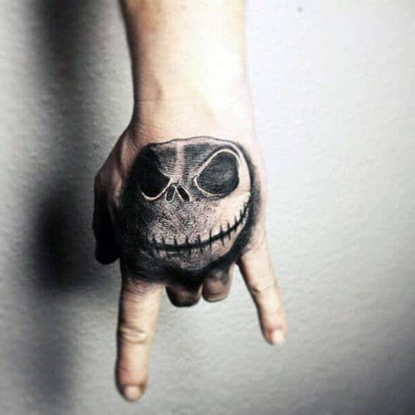 Night Before Christmas Jack Skellington Hand Tattoos For Men