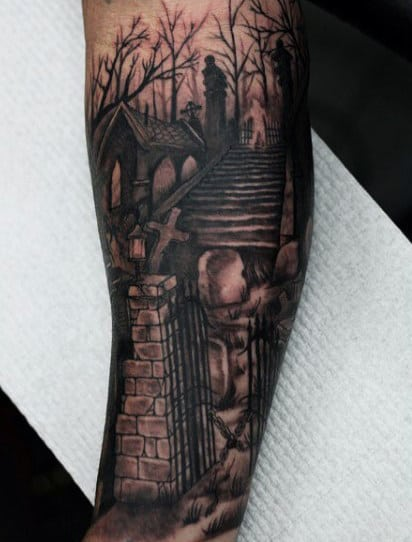 Night Graveyard Male Tattoo