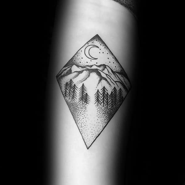Night Sky Forest Guys Small Nature Tattoo Designs On Forearm