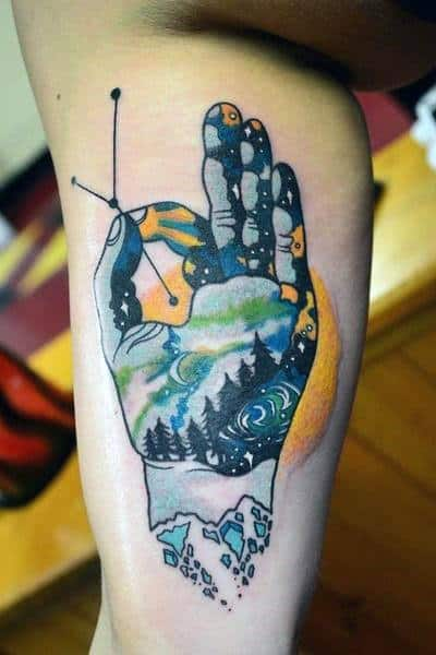 Night Sky Hand Holding Cancer Constellation Tattoo Deson On Mens Bicep