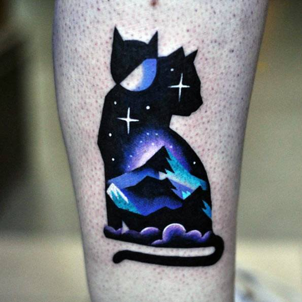 Night Sky Male Cat Themed Tattoo Inspiration