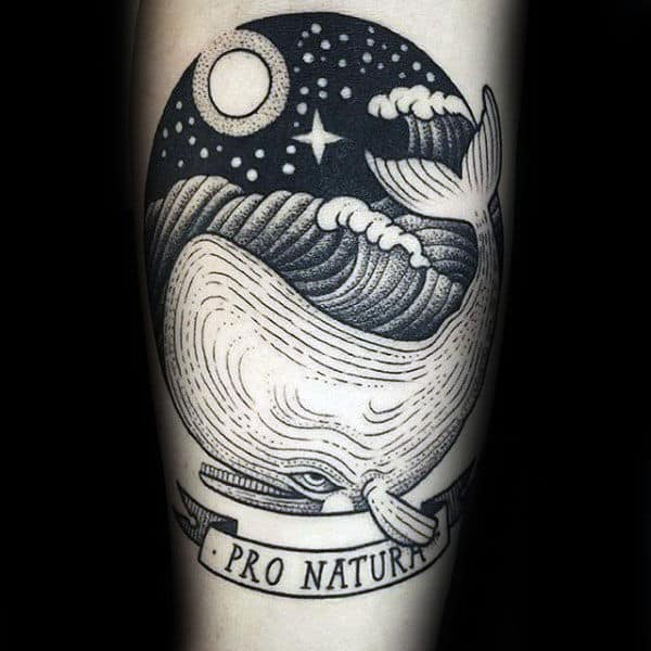 Night Sky Ocean Waves Male Whale Forearm Tattoo Ideas