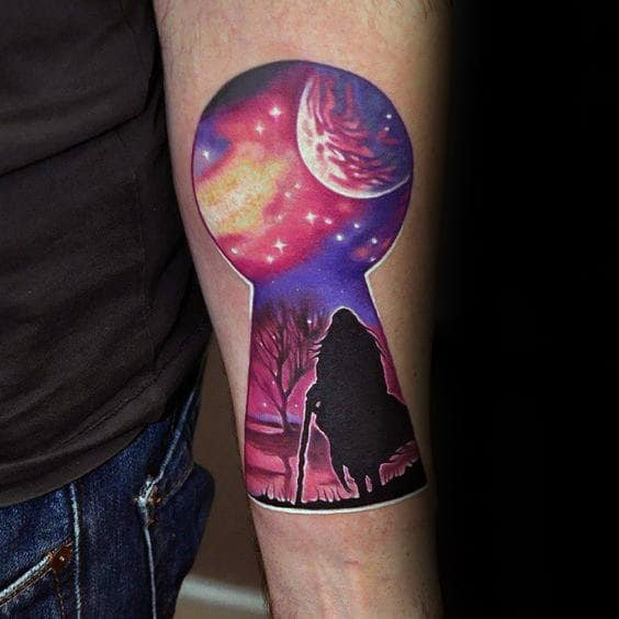 Night Sky Silhouette Keyhole Mens Inner Forearm Tattoo Ideas