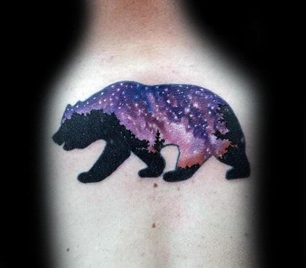 Night Sky Stars California Bear Mens Back Tattoos
