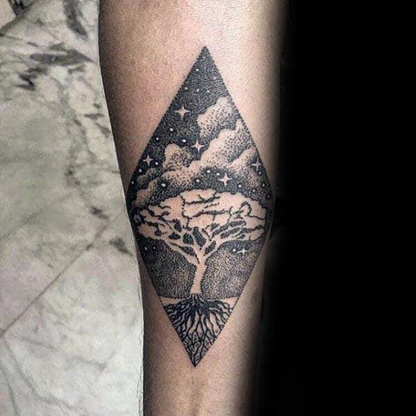 Night Sky Tree Of Life Mens Dotwork Inner Forearm Tattoo