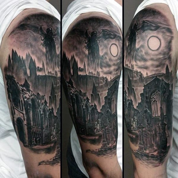 Night Sky With Cthulhu And Buildings Mens Half Sleeve Tattoos