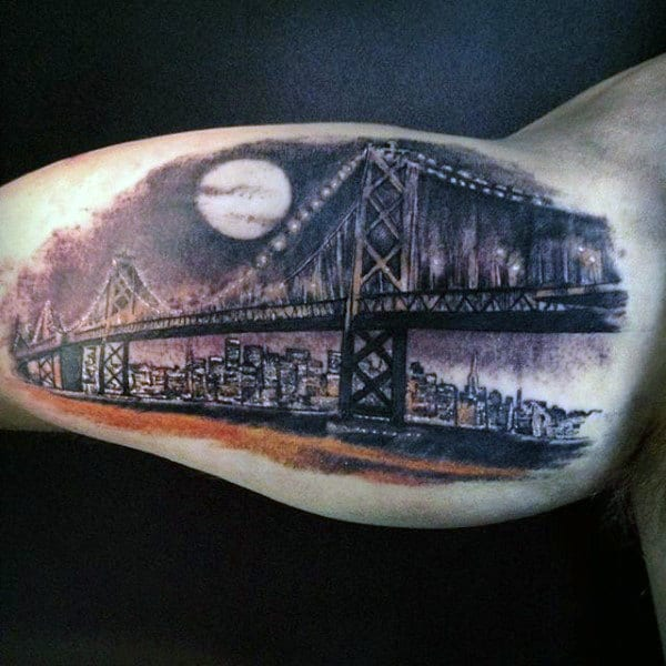 Night Sky With Moon Bridge Mens Inner Arm Bicep Tattoo