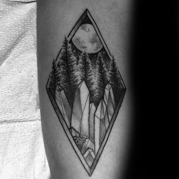 Night Sky With Moon In Forest And Crystals Guys Small Forearm Tattoo