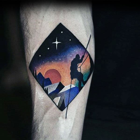 Night Sky With Rock Climber Awesome Mens Modern Arm Tattoo Ideas