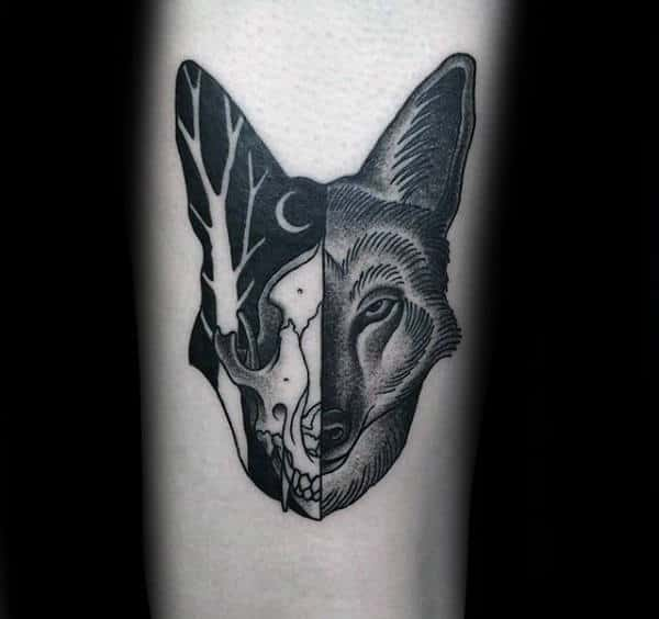 Night Sky Wolf Skull Male Tattoos