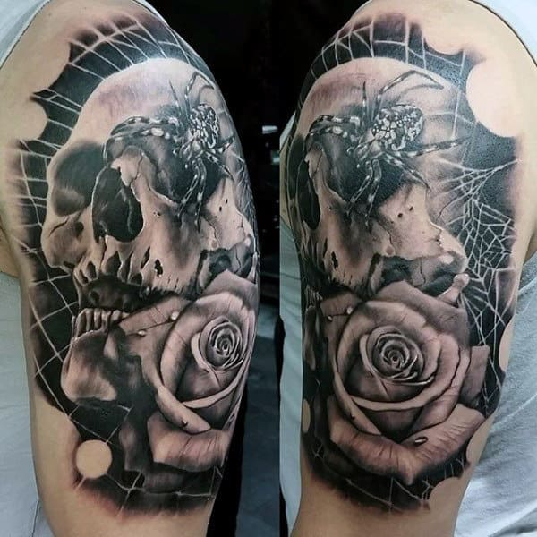 Nightmarish Spider And Rose Tattoo On Arms For Men
