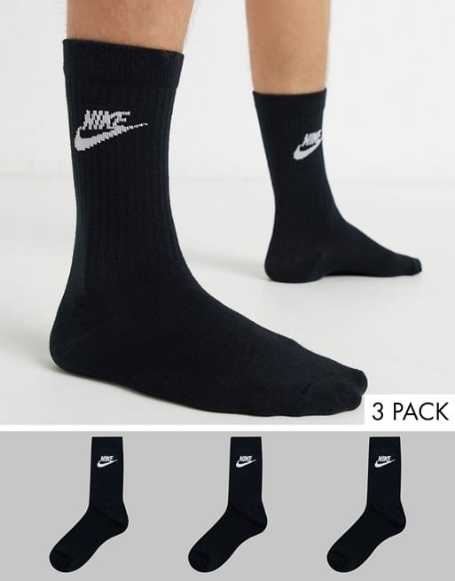 nike evry essential 3 pack socks in black