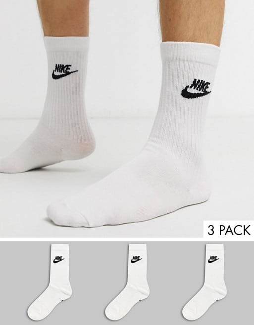nike evry essential 3 pack socks in white