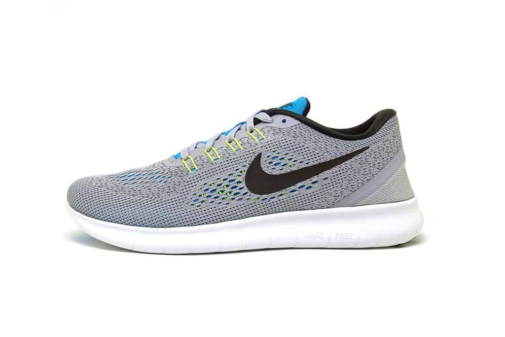 Grey pair of Nike Free running shoes.