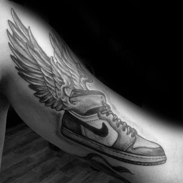 Nike Sneaker With Wings Guys Leg Tattoo
