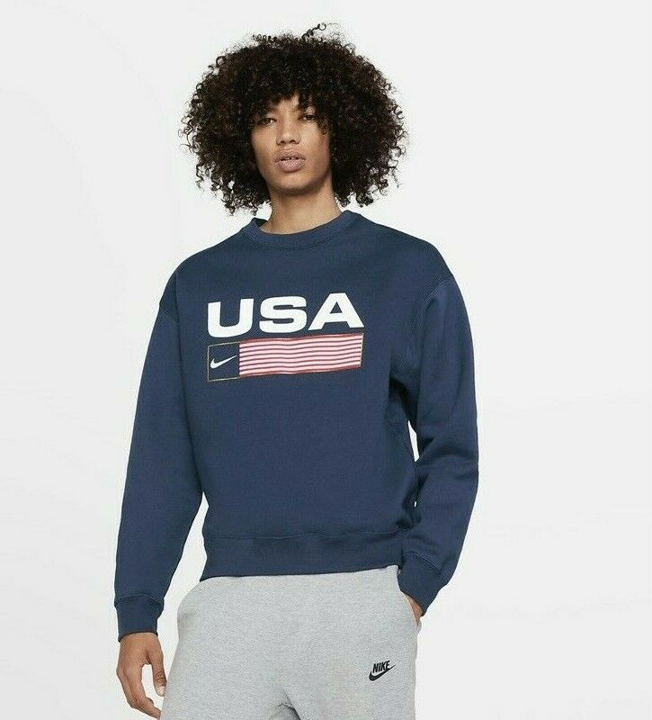 nike usa swoosh striped flag navy blue crew