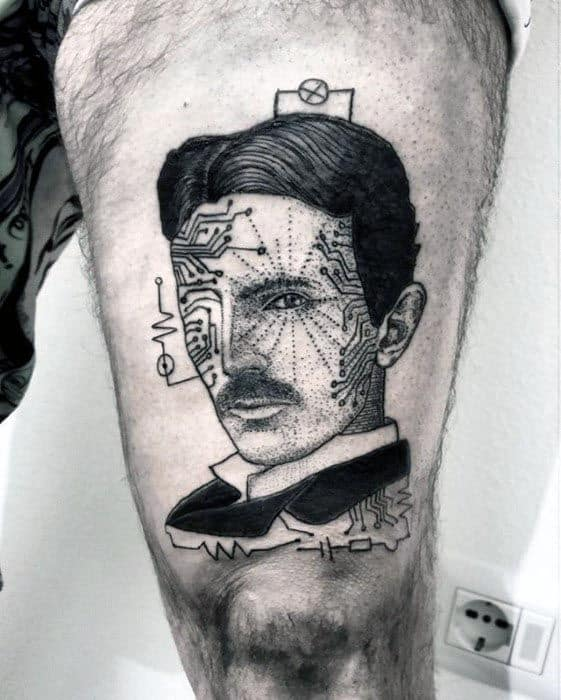 Nikola Tesla Male Tattoo Designs
