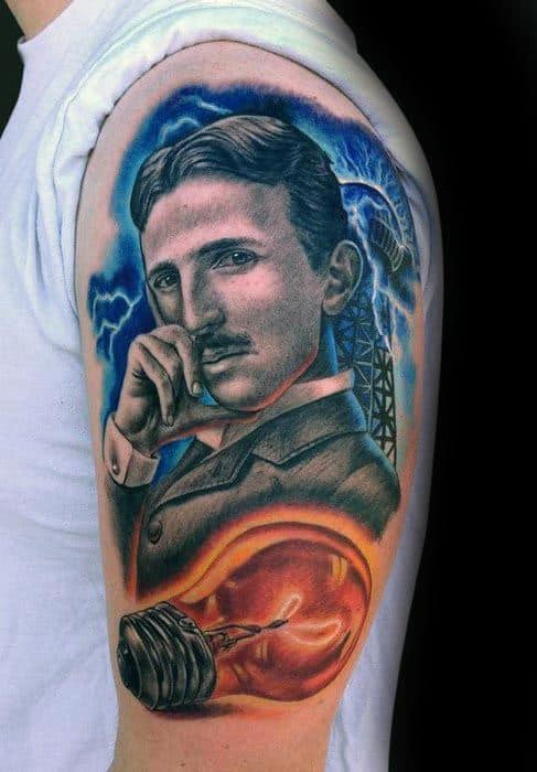 Nikola Tesla Male Tattoos